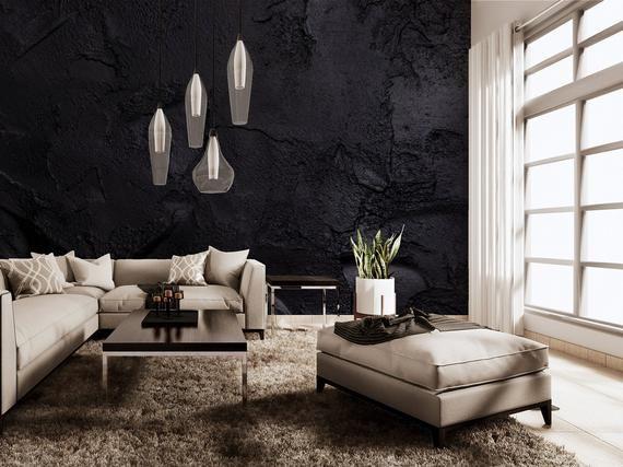 Black Concrete Wall Photo Wallpaper Self Adhesive Peel Etsy Concrete Wallpaper Geometric Wallpaper Living Room Wallpaper Living Room