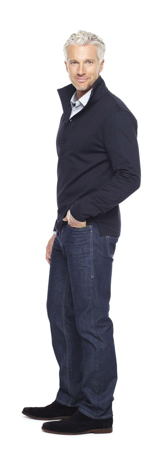 claiborne sportshirt and straight jeans