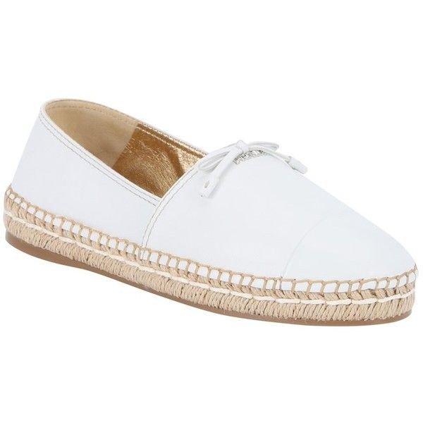 Prada White Leather Bow Detail Espadrille Loafers (393310001) ($399) ❤ liked on Polyvore featuring shoes, loafers, white, white shoes, leather loafers, prada espadrilles, metallic shoes and bow shoes