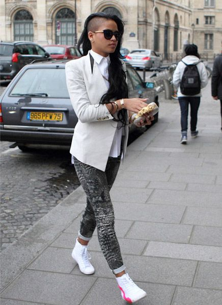 "Different but feeling it. Helmut Lang blazer, Rag & Bone leggings, Alexander McQueen clutch,and Be & D ""Big City"" sneakers."