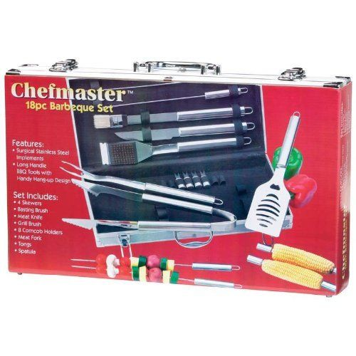 Chefmaster 18pc Stainless Steel BBQ Tools Set by Chef-Master. $79.99. Handy hang-up design. Set contains: 4 Skewers, Basting Brush, Meat Knife, Grill Brush, 8 Corn Cob holders, Meat Fork, Tongs and Spatula. Surgical Stainless Steel BBQ Grill Tools. Long handle tools. Carrying Case. Chefmaster 18pc All Stainless Barbeque Set. These BBQ Grill Tools feature surgical stainless steel implements, long handle tools with handy hang-up design and an aluminum carrying case. Th...