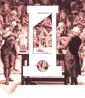 Begrijp het beeldmerk van het tijdvak van Pruiken en Revoluties  De voorgrond toont de guillotine, het symbool van de Franse Revolutie. De achtergrond toont rijke burgers, leden van een wetenschappelijk genootschap, die naar een natuurkundig experiment kijken: de werking van een elektriseermachine. De witte pruiken waren in de 18e eeuw in de mode bij rijke burgers.