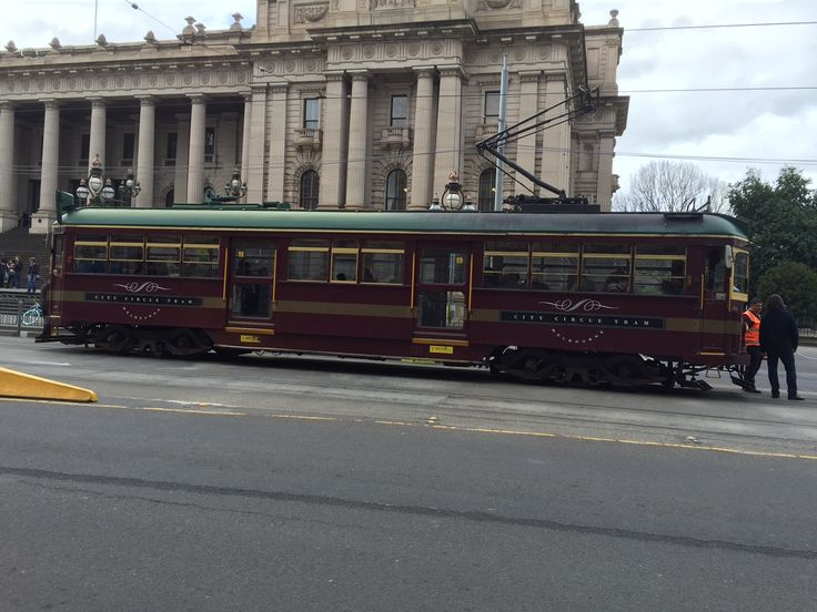 Red free City Circle Tram. Melbourne Spring St Victoria