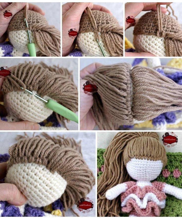 Yarn hair for crocheted doll