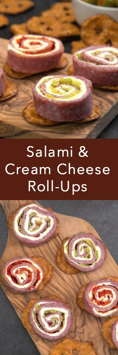 Salami & Cream Cheese Roll-ups are the perfect game day appetizer.