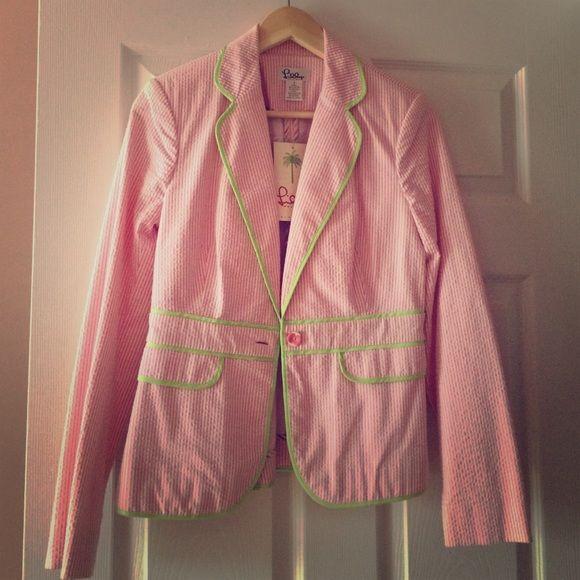Lilly Pulitzer pink seersucker blazer -Sz 4 *NWT* never worn! Lily Pulitzer pink and white seersucker blazer. Crisp condition! Lime green piping detail. Lilly Pulitzer Jackets & Coats Blazers