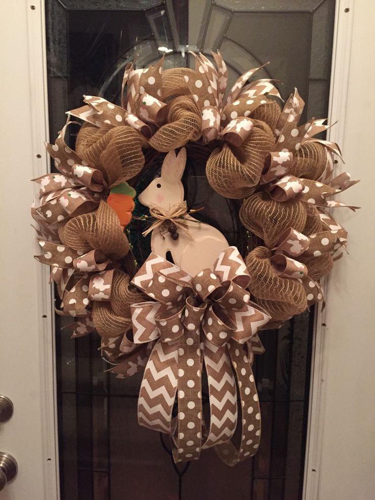 Easter Wreath,Poly Jute Burlap Deco Mesh Wreath, Easter Bunny Wreath, Polka Dot Ribbon,Chevron  Ribbon, Rustic Wood Rabbit, Easter, Wreaths by RoesWreaths on Etsy https://www.etsy.com/listing/224872758/easter-wreathpoly-jute-burlap-deco-mesh