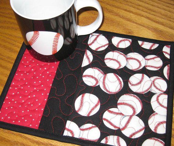 Baseball Mug Rugs - Set of 2
