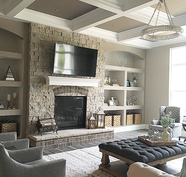 How To Decorate Deep Living Room Shelves Traditional Home