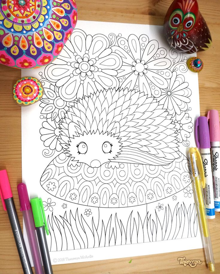 Hedgehog Coloring Page From Thaneeya McArdles Think Happy Book
