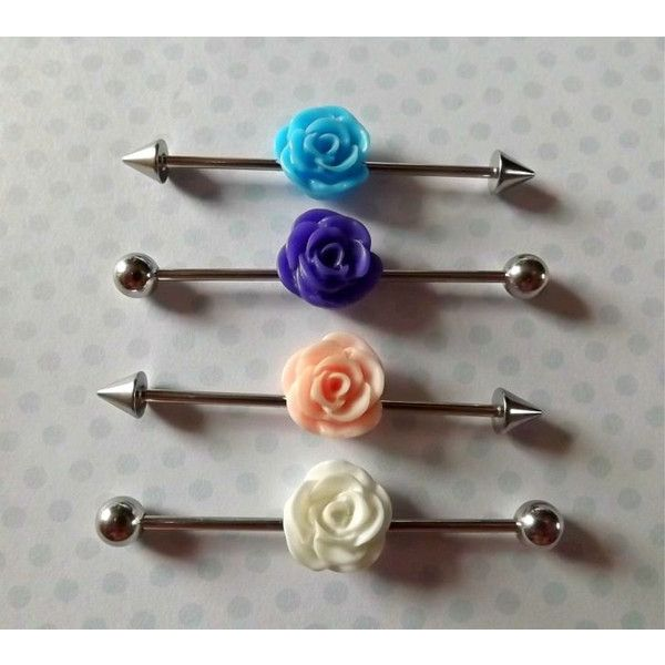 Industrial Barbell With Green Rose Body Jewelry Ear Jewelry Double... ($9.95) ❤ liked on Polyvore featuring jewelry, surgical steel jewelry, green charm, body jewellery, green jewellery and rose jewelry