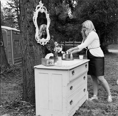Dress up your port- a potties with a mirror for primping and other freshners Real Wedding: Melissa and Jesses's Montana DIY Camp Wedding: Part 2 | Hitched in the Hood