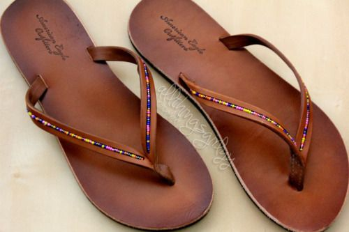 Simple Brown Flip-flops with Beading // embellished bead sandals // hippie style // boho fashion