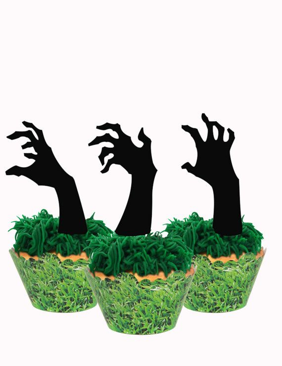 Zombie Party  Zombie Cupcake Toppers  Set of 12 by carnivalpapier