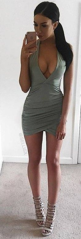 #summer #ohpolly #outfits | Slinky Mini Dress in Light Khaki