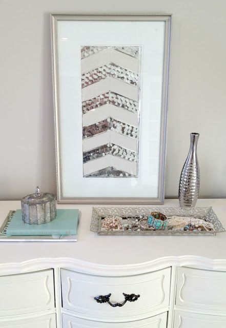 How to make DIY herringbone sequin art out of old thrift store art! Check this out!