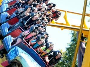 Six Flags Magic Mountain in Valencia, California, offers intense roller coaster thrills.