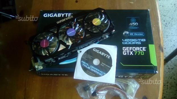 GIGABYTE  SCHEDA  VIDEO  GTX 770 - 4 GB DDR5 versione OC - SCHEDA VIDEO NVIDIA DELLA GIGABYTE GTX 770 CON 4 GB DI MEMORIA DDR 5 VERSIONE OC COMPLESSIVO DI SCATOLA ORIGINALE + IL SUO CD DRIVER + N. 2 CAVI ALIMENTAZIONE HA 8 PIN ED ADATTAMENTO HA QUALSIASI ALIMENTATORE AVETE SCHEDA VIDEO PERFETTAMENTE FUNZIONANTE PARI AL NUOVO OTTIMA PER GIOCARE ANCHE CON... - http://www.ilcirotano.it/annunci/ads/gigabyte-scheda-video-gtx-770-4-gb-ddr5-versione-oc/