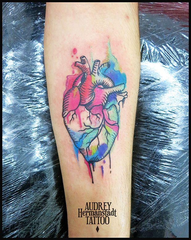 tattoo aquarela Audrey Hermanstadt coração
