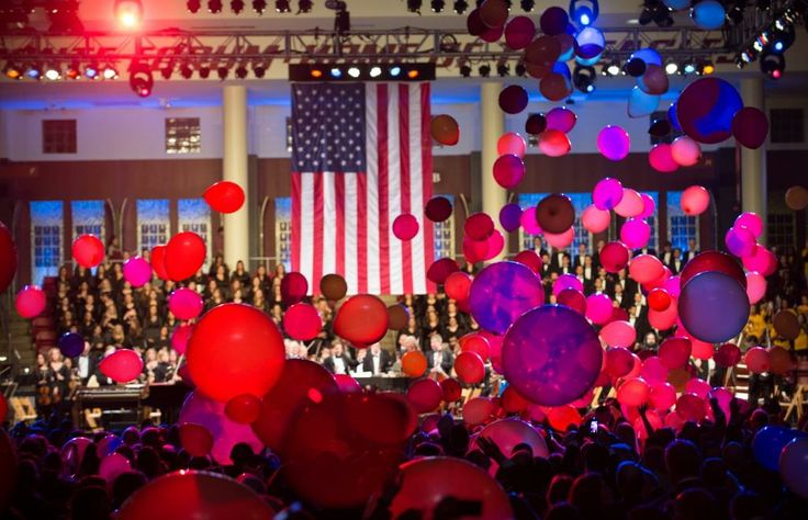 """Shower of maroon and gold balloons during the performance of """"Stars and Stripes Forever"""""""