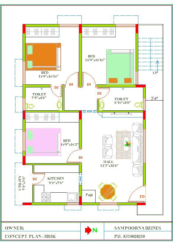 30x40 3bhk East Facing House Plan 30x40 House Plans My House Plans Free House Plans