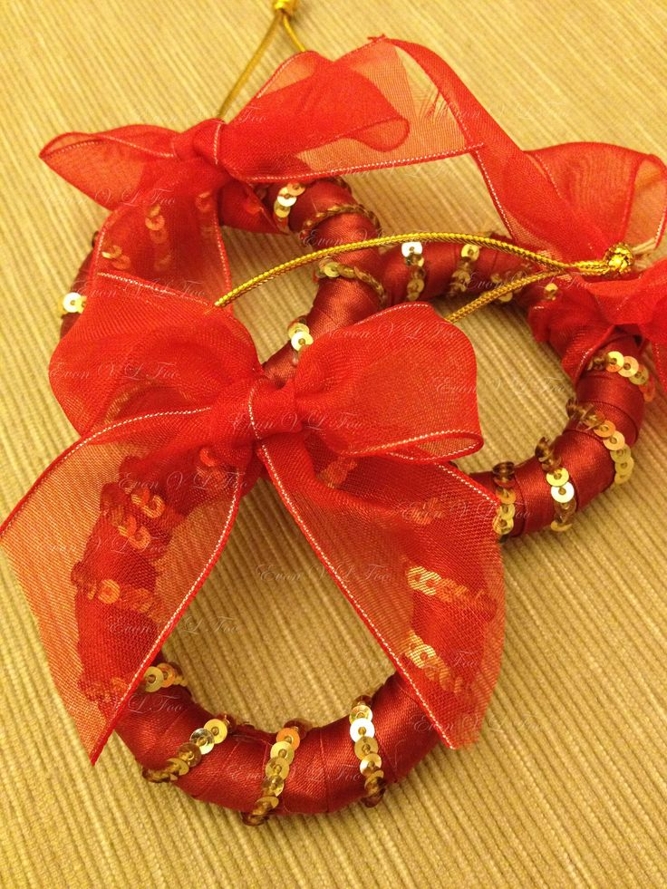 upcycled curtain rings - Christmas tree ornaments (version 3) or add onto Christmas gifts