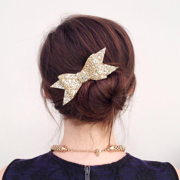 Gold Glitter Hair Bow.