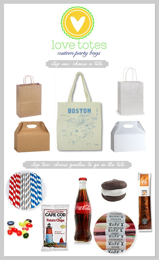 Custom totes work great for out of town guests, or even as a gift set for your bridal party.