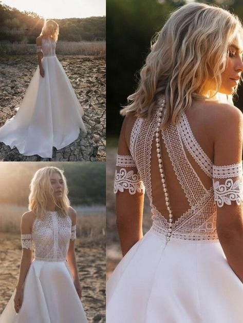 onlybridals High Neck Wedding Dresses Beach Boho A-Line Bridal Gowns Lace Sleeveless Custom