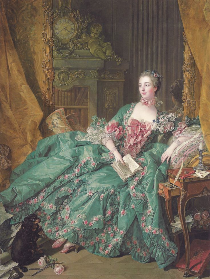 Somewhat paler green.  The clock's a little green, but her stomacher and the other pinkish details look pretty good, not off-color.  Francois Boucher, Madame de Pompadour. 1756