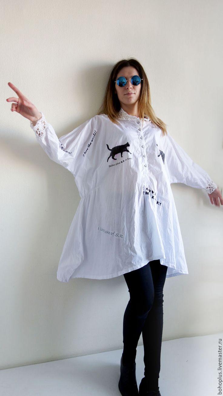 """Купить Платье-рубашка из хлопка """"Черный кот"""" в интернет магазине на Ярмарке Мастеров"""