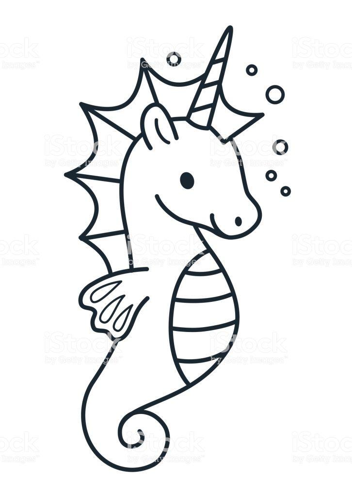 Cute Sea Horse Unicorn Simple Cartoon Coloring Page Vector Cartoon Coloring Pages Simple Cartoon Line Doodles