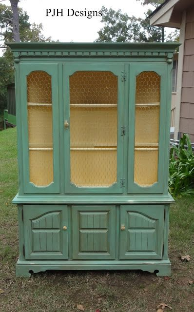 Vintage Hutch To Green Jelly Style Cabinet:: Removed all the glass and replaced it with chicken wire. Mixed one-third Antibes Green, two-thirds white (used primer), and to add a hint of blue, add a cup of Louis Blue. Yes, you can mix Annie Sloan Chalk Paint and latex paint or primer! Love it!