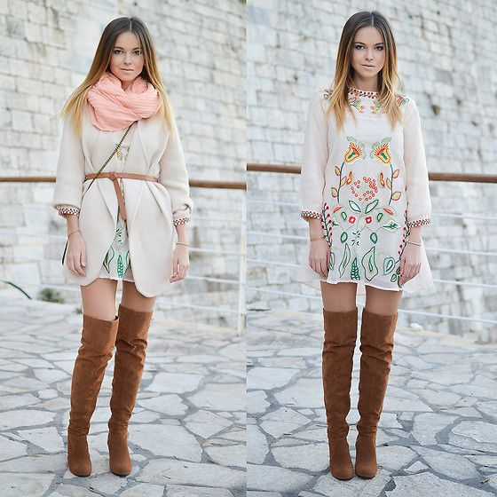Get this look: http://lb.nu/look/8501685  More looks by Tamara Bellis: http://lb.nu/tamarabellis  Items in this look:  Zaful Dress, Sammydress Cardigan, S Oliver Belt, New Yorker  Scarf, Yesstyle Over The Knee Boots