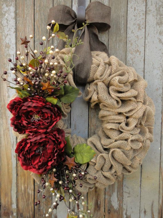 Red Peony Christmas Wreath-Christmas Burlap Wreath--Holiday Burlap Wreath-Rustic Christmas Wreath-Holiday Door Decor-Burlap Wreath
