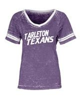 Tarleton State University Texans Burnout Wash Tri-Blend V-neck Ringer