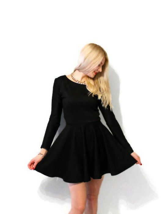 Long sleeves black skater dress black circle by Batelboutique
