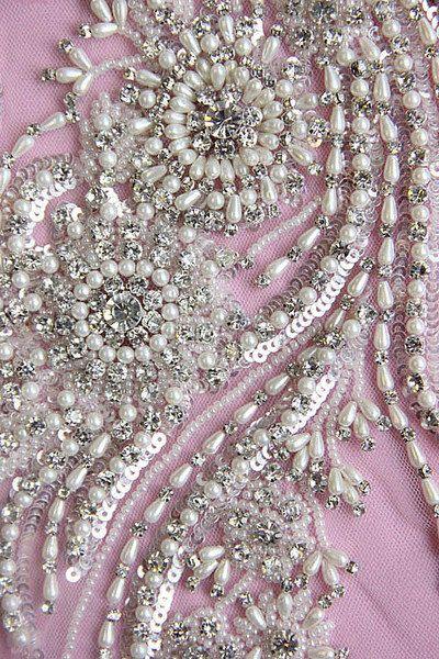 1 Swarovski Crystal Beaded Wedding Gown Applique by allysonjames, $238.98
