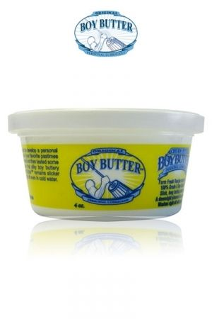 Lubrifiant Boy Butter 120 ml en potCaractéristiques : - Composition : huile végétale et silicone organique - Hypoallergénique et très glissant - Contenance : 120 ml - Nettoyage facile, soluble dans l'eau - Longue durée - Fabriqué aux USA