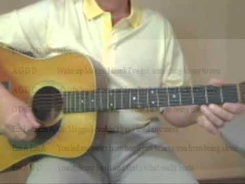 2 minute song lesson learn Chords and Strum Pattern to play along with Maggie May by Rod Stewart.