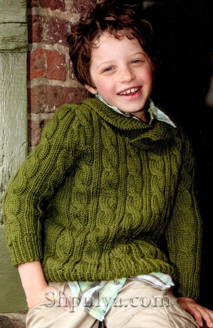Зеленый вязаный пуловер с косами для мальчика