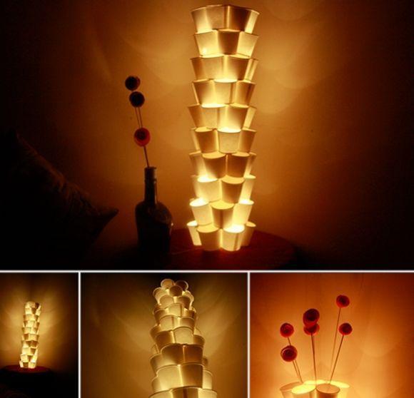 Luminária de copo descartável com passo a passo