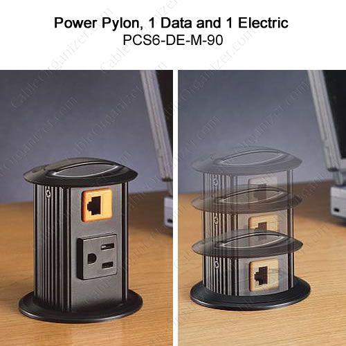 Power and data desk grommet #desk #organization