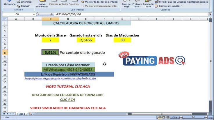 Como Calcular porcentaje diario de las ganancias en mypayingads
