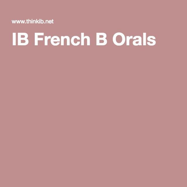 IB French B Orals