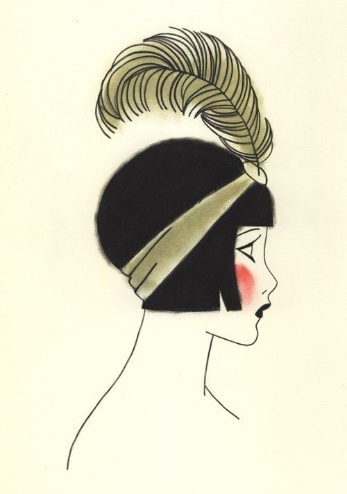 Art Deco Girl - feather hat