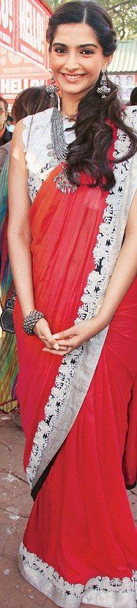 Party Saree #Sonam Kapoor#Anamika Khanna fashion#red#white