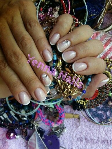 Simple french gel nails with crystal nails - cover refill hard crystal gel.