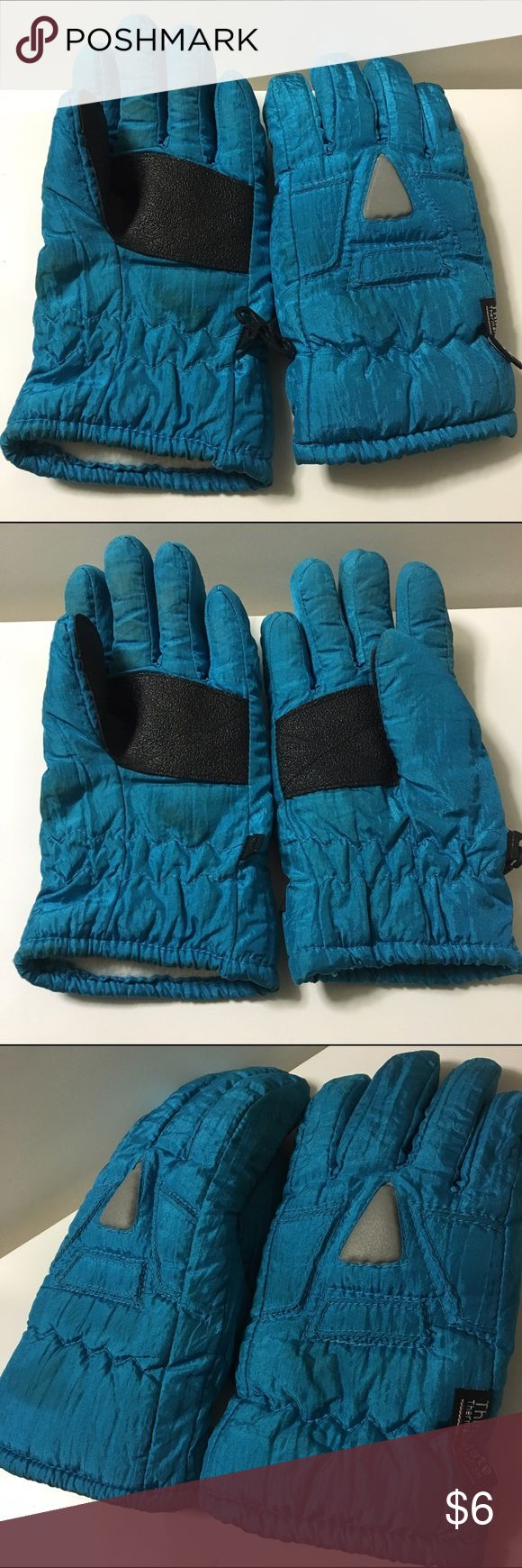 Blue Winter Gloves Blue Thinsulate Gloves for kids, keeps hands and fingers warm, perfect of winter, snow and trips to cold places. Used condition, as pictured, but doesn't effect it's comfort & protection. Can be attached for keeping together. Material on Palm provides a good grip. Unisex. Questions welcomed Accessories Mittens