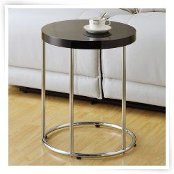 Monarch Round Chrome Metal Accent Table   Glossy Black Small Table For  Entryway Chairs